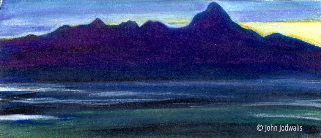 "Alaska Range - Wax Pastel on Paper - 4"" x 8"" - ©2017 John Jodwalis"