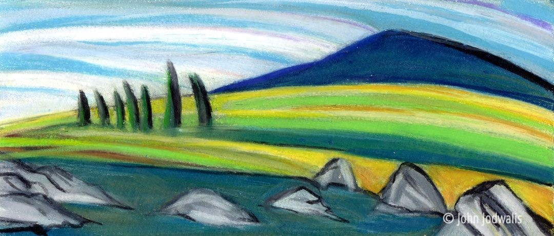 "Birch Creek - Wax Pastel on Paper - 4"" x 8"" - ©2017 John Jodwalis"