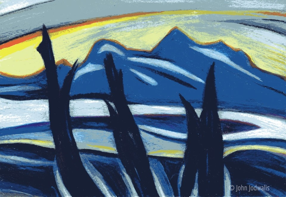 Black Spruce - Wax Pastel on Paper - © John Jodwalis 2017