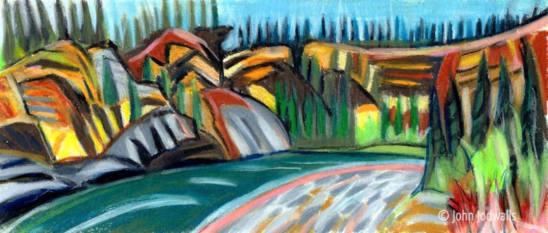 "Charley River - Wax Pastel on Paper - 4"" x 8"" - ©2017 John Jodwalis"