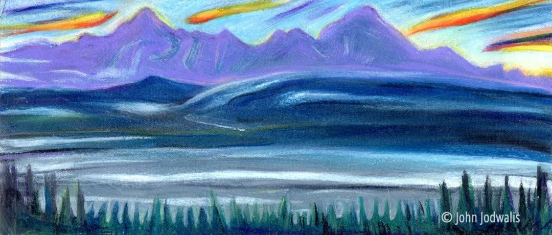 "Evening Delta River - Wax Pastel on Paper - 4"" x 8"" - ©2017 John Jodwalis"