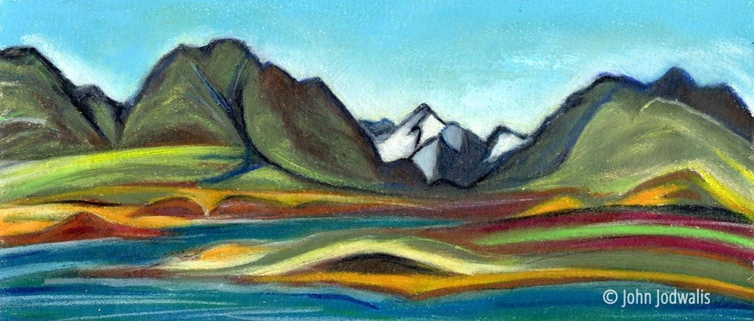 "Fall Landmark Gap - Wax Pastel on Paper - 4"" x 8"" - ©2017 John Jodwalis"
