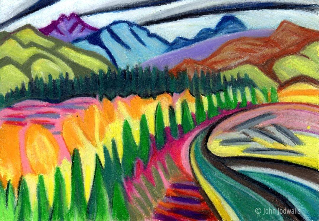 "Fall Tatonduk River - Wax Pastel on Paper - 5"" x 7"" - ©2017 John Jodwalis"